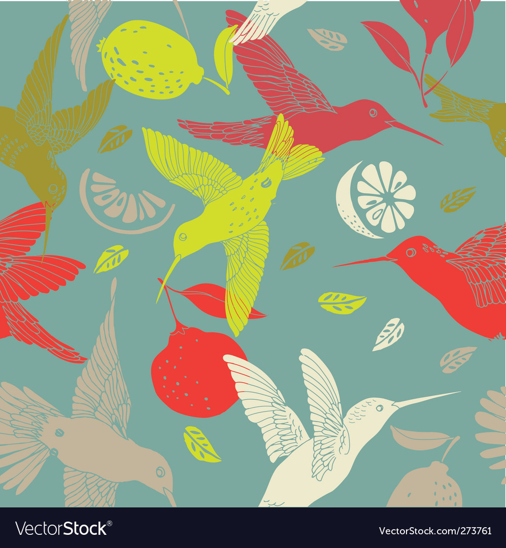 Humming birds pattern vector | Price: 1 Credit (USD $1)