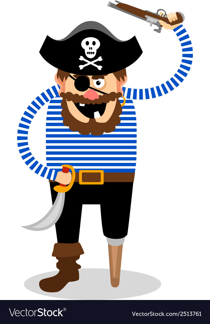 Pirate on a white background vector | Price: 1 Credit (USD $1)