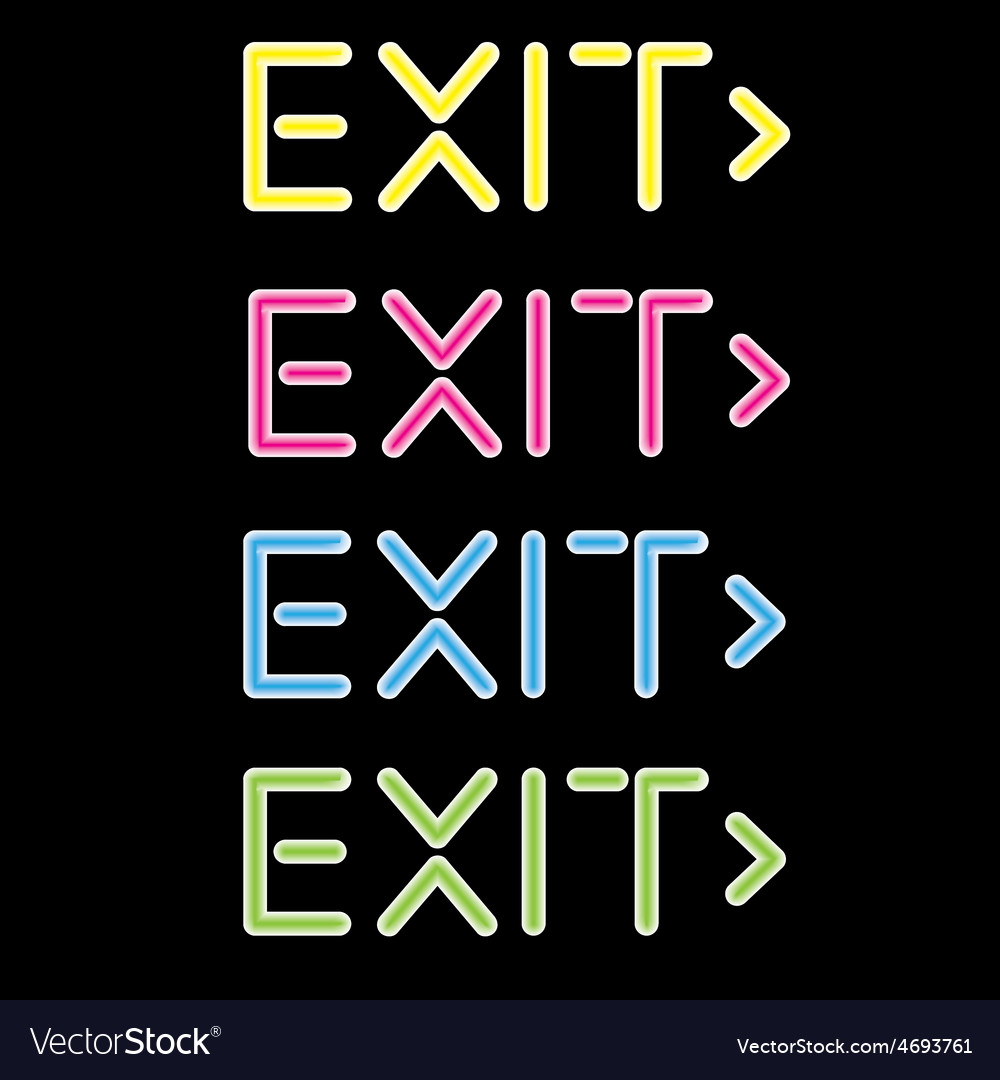 Showing a neon exit sign vector | Price: 1 Credit (USD $1)