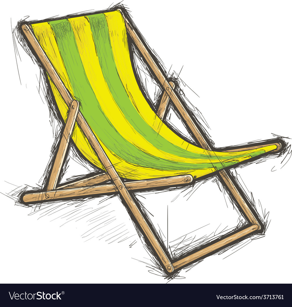 Striped beach chair vector | Price: 1 Credit (USD $1)