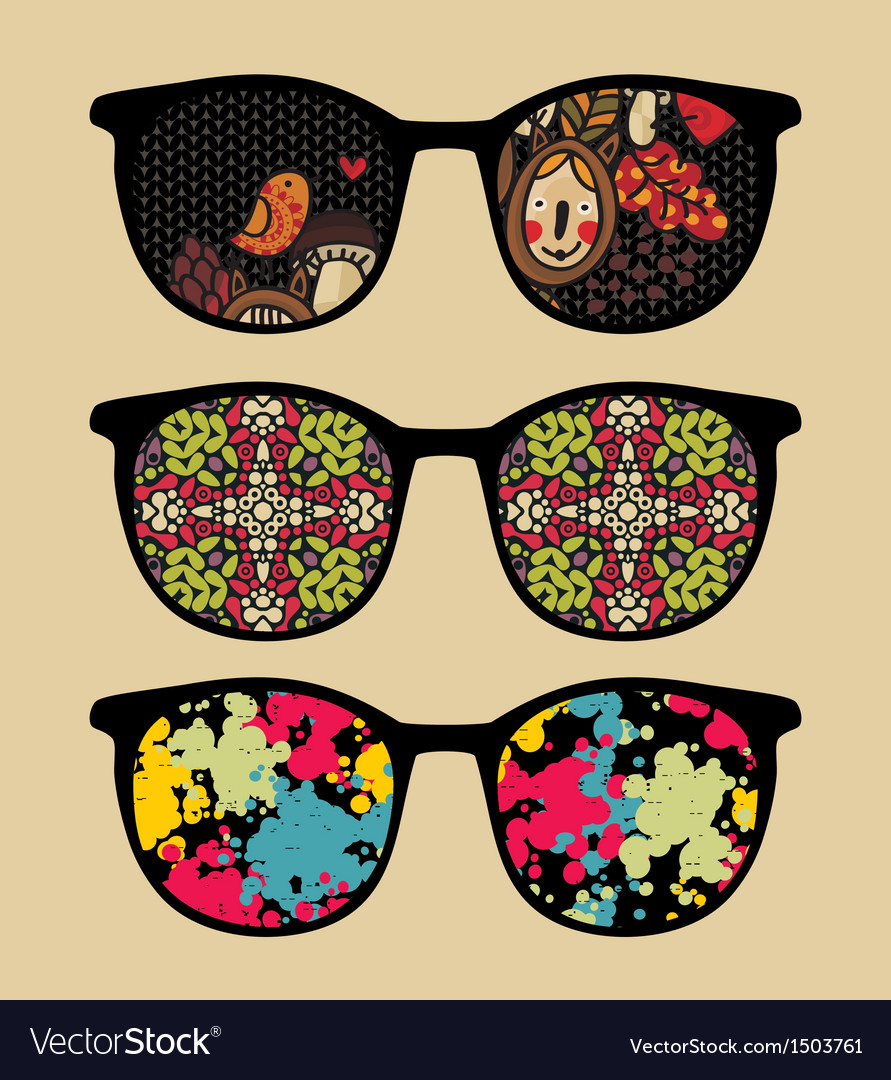 Three retro sunglasses with cool reflection vector | Price: 1 Credit (USD $1)