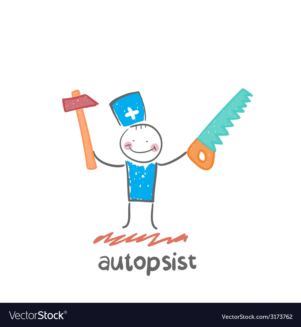 Autopsist with a saw and mrlotkom vector | Price: 1 Credit (USD $1)
