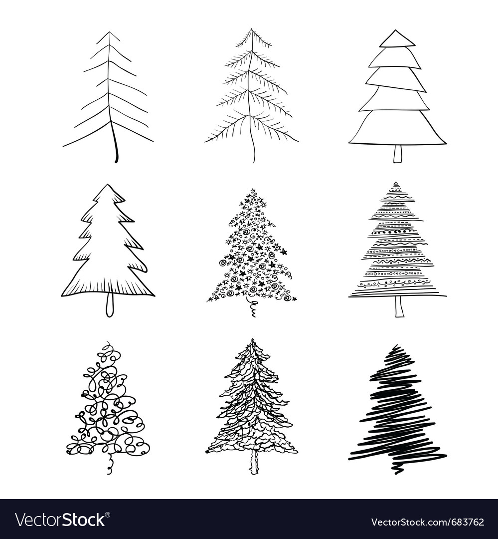 Christmas tree silhouette vector | Price: 1 Credit (USD $1)