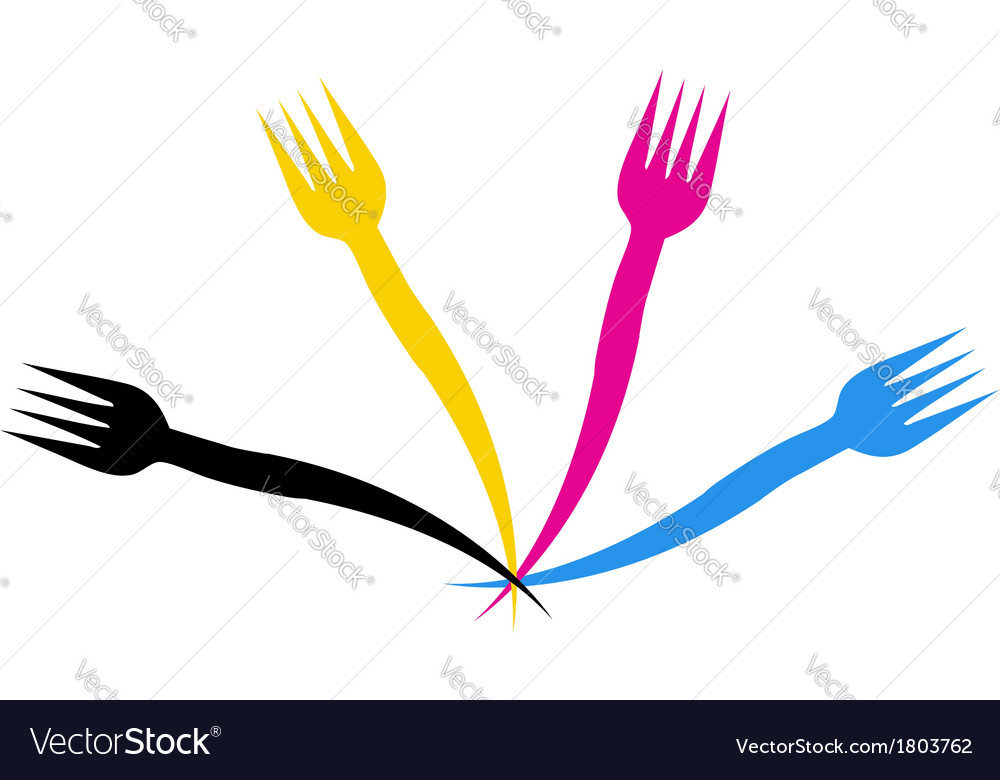 Cmyk forks- logo for a restaurant or cafe vector | Price: 1 Credit (USD $1)