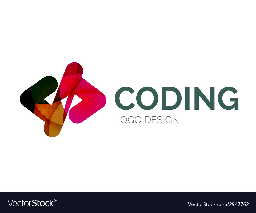 Code icon logo design made of color pieces vector | Price: 1 Credit (USD $1)