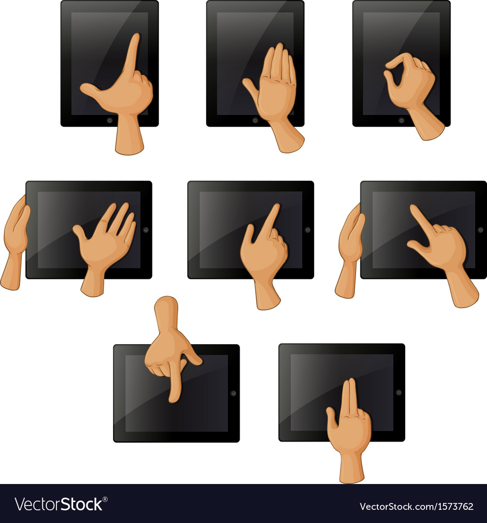 Different hand gestures when using a gadget vector | Price: 1 Credit (USD $1)