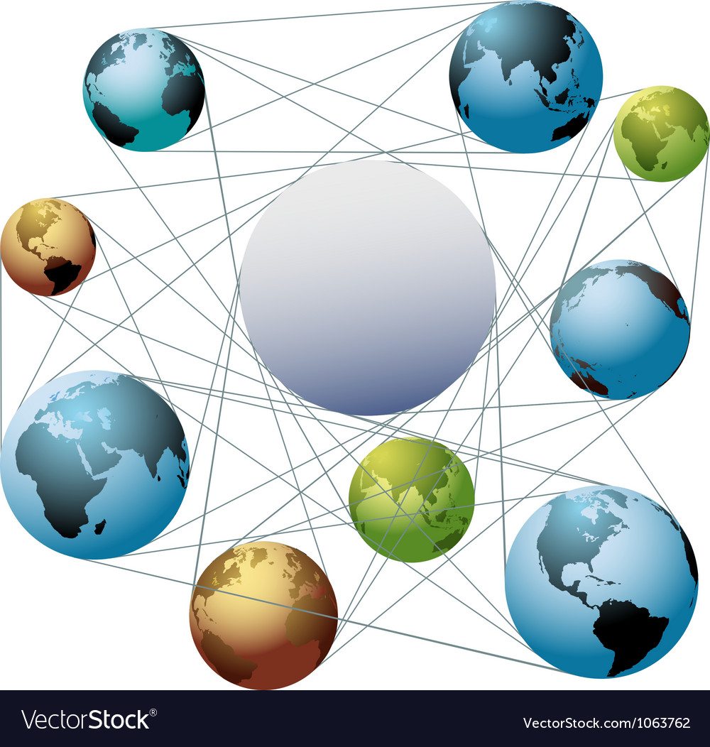 Join earth world colors in global network vector | Price: 1 Credit (USD $1)