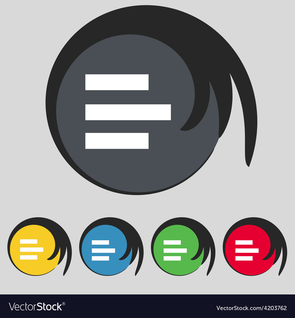 Left-aligned icon sign symbol on five colored vector | Price: 1 Credit (USD $1)