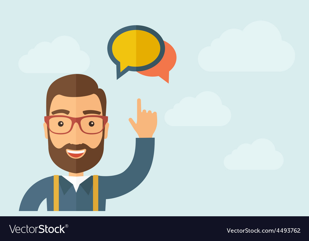 Man pointing the two speech bubbles icon vector   Price: 1 Credit (USD $1)