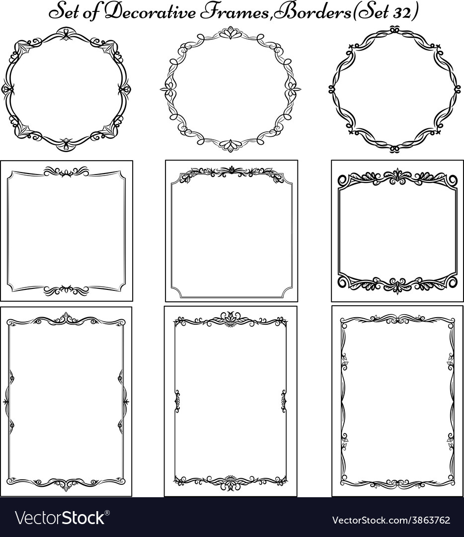 Set of decorative vintage frames vector