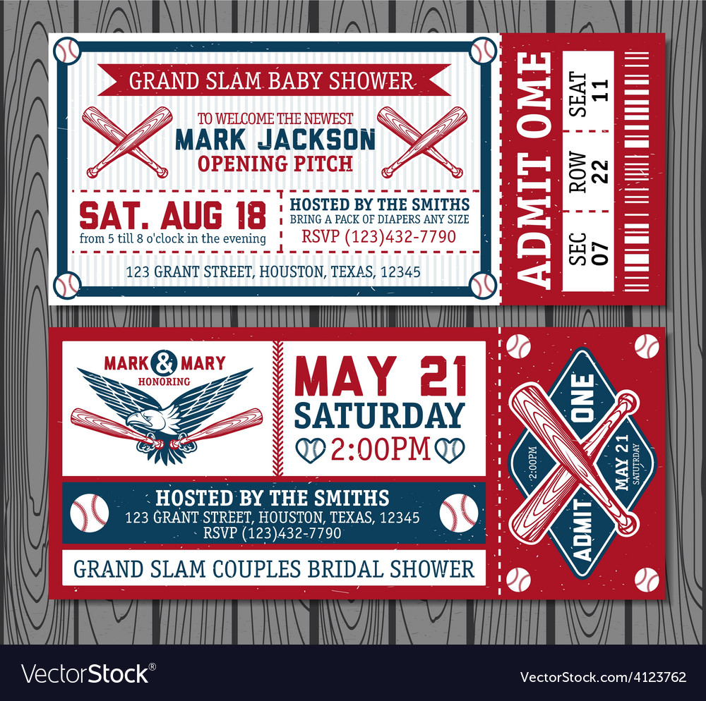 Set of vintage baseball tickets vector | Price: 3 Credit (USD $3)