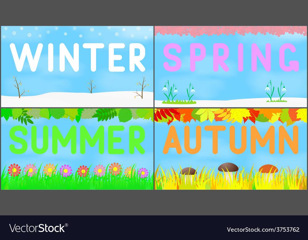 Set scenery seasons vector   Price: 1 Credit (USD $1)