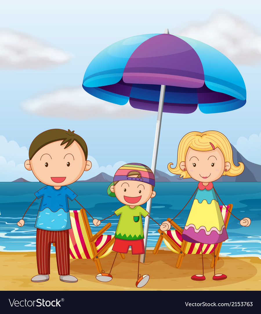 A family at the beach vector | Price: 3 Credit (USD $3)