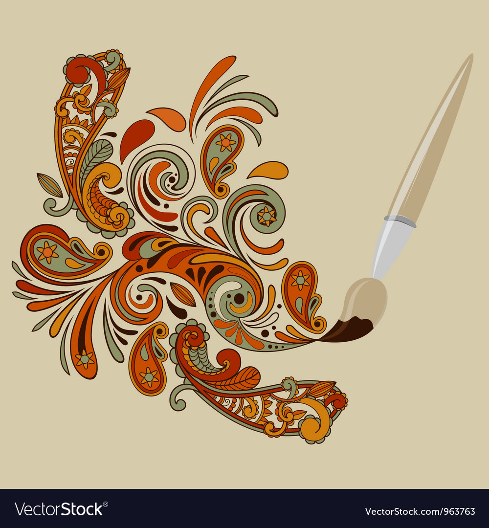 Cartoon brush painting floral swirls vector | Price: 1 Credit (USD $1)