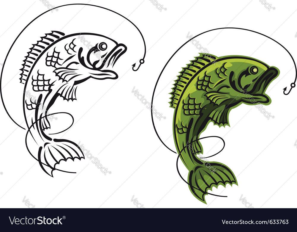 Catch a carp fish as a fishing symbol isolated on vector | Price: 1 Credit (USD $1)