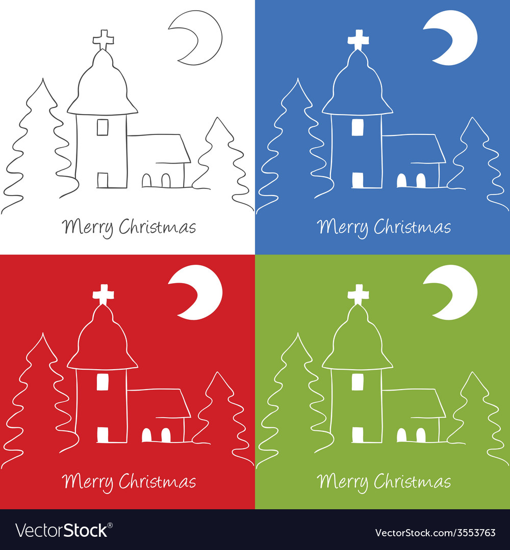 Christmas church doodle vector | Price: 1 Credit (USD $1)