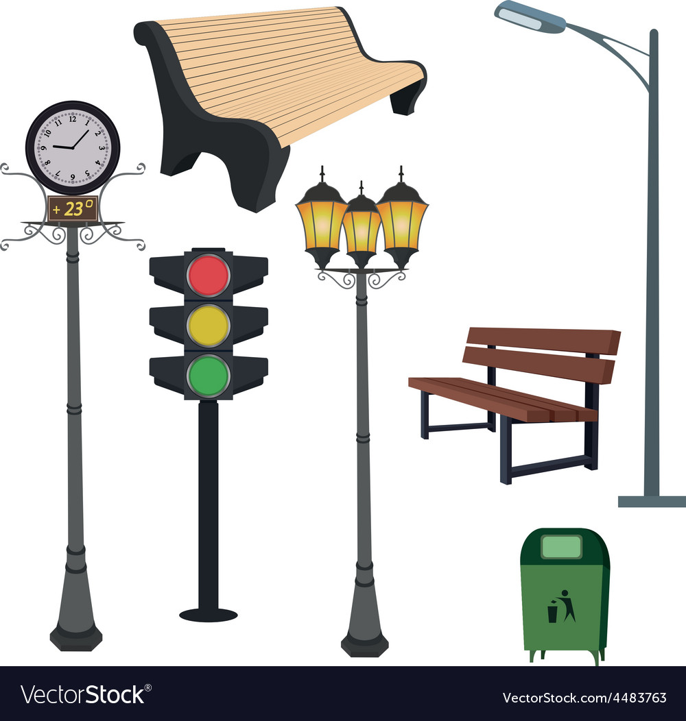 City objects- dustbin lamppoststreet hours vector | Price: 1 Credit (USD $1)
