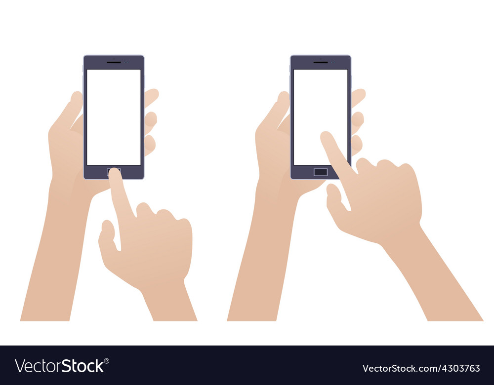 Hand holding black smartphone touching blank vector | Price: 1 Credit (USD $1)