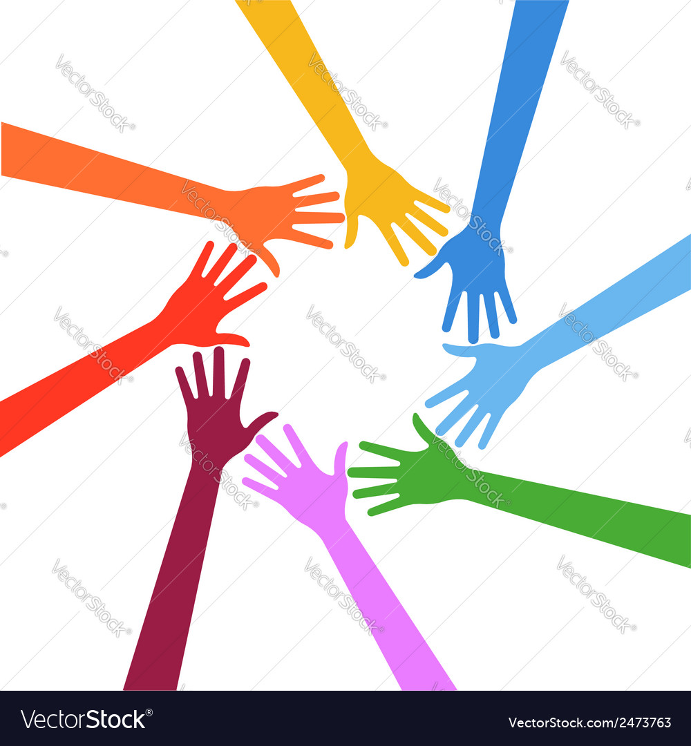 Hands in circle teamwork concept vector