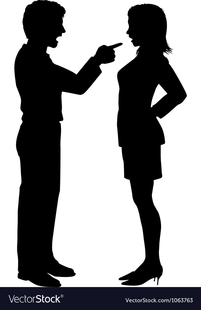 Man woman yell point in couple argument vector
