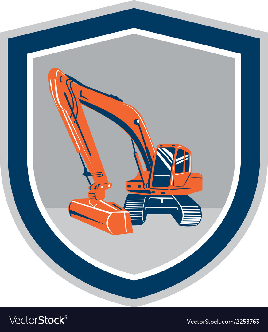 Mechanical digger excavator retro shield vector | Price: 1 Credit (USD $1)