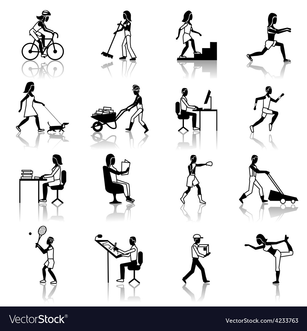 Physical activities icons black vector | Price: 1 Credit (USD $1)