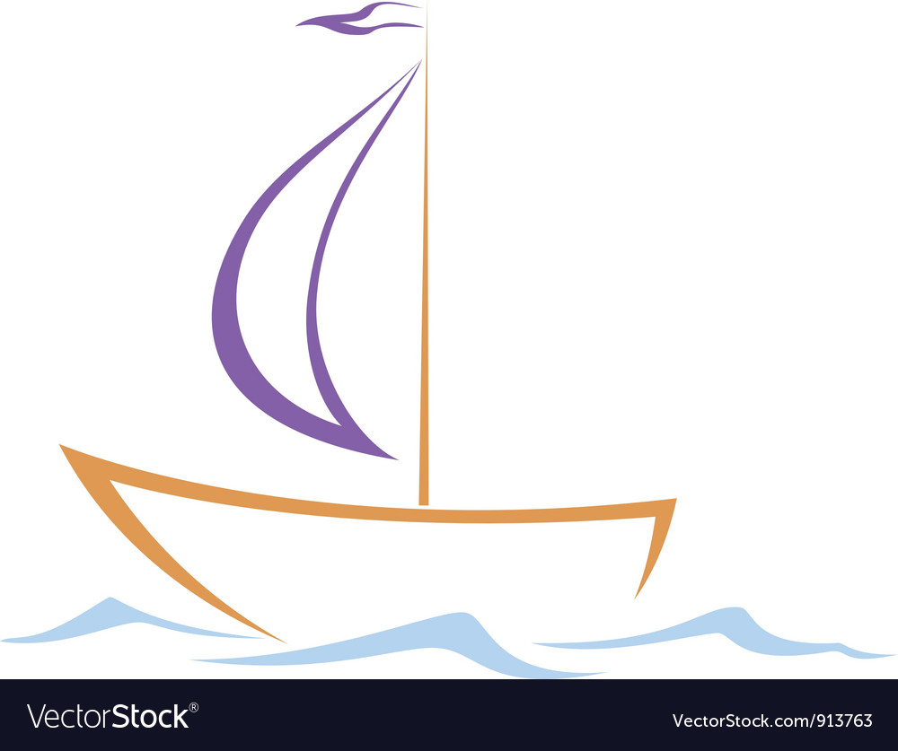 Sailing vessel on waves vector | Price: 1 Credit (USD $1)