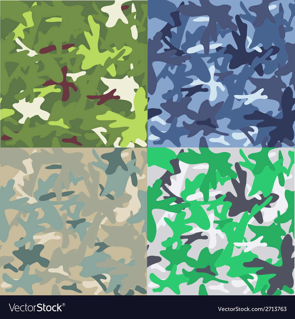 Set of camouflage military background seamless vector | Price: 1 Credit (USD $1)