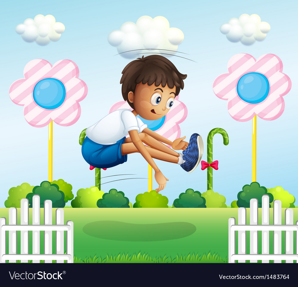 A boy jumping near the fence vector | Price: 1 Credit (USD $1)