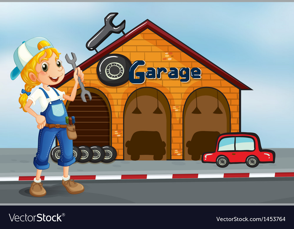 A girl holding a tool standing in front of a vector | Price: 1 Credit (USD $1)