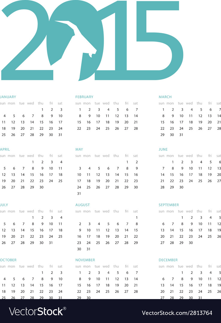 Calendar for 2015 with a blue heading on vector | Price: 1 Credit (USD $1)