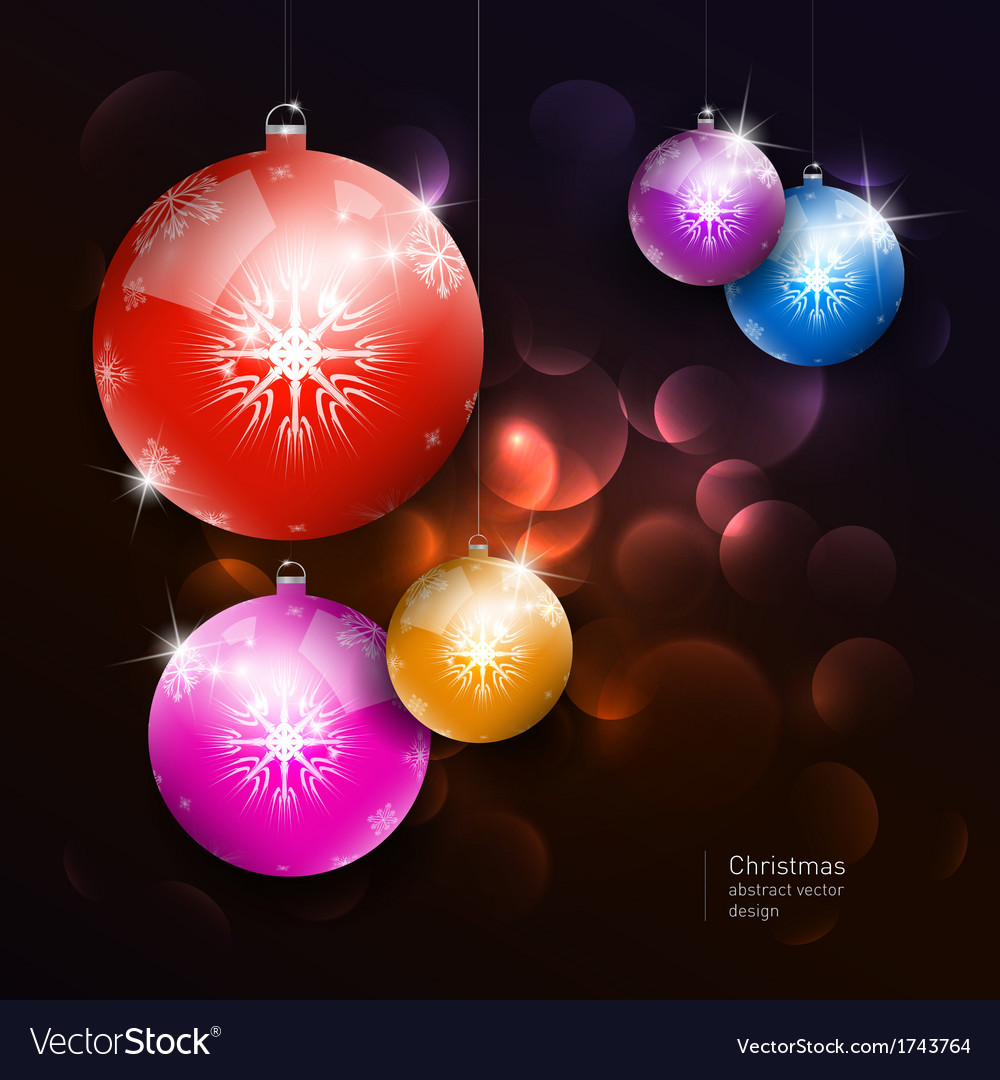 Colorful christmas balls on dark background vector | Price: 1 Credit (USD $1)