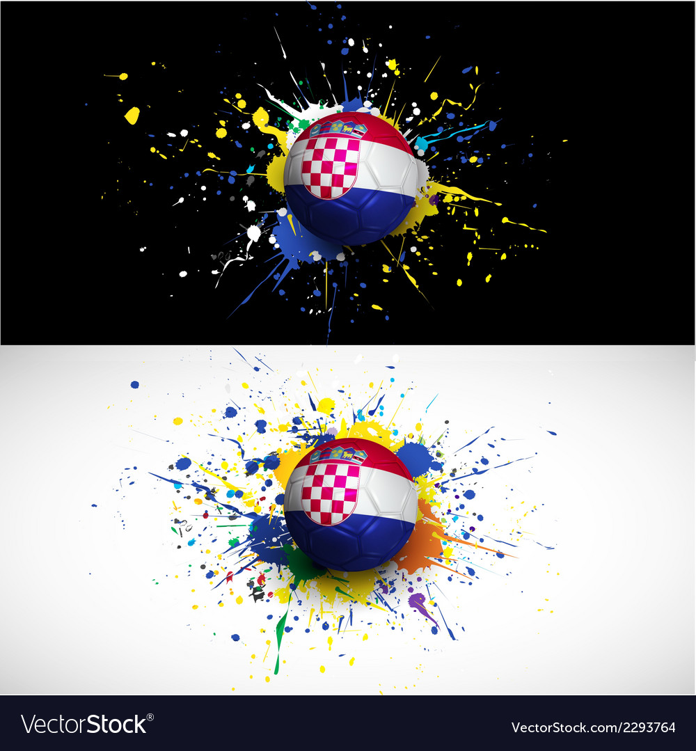 Croatia flag with soccer ball dash on colorful vector | Price: 1 Credit (USD $1)