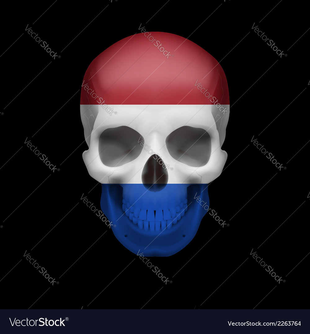 Dutch flag skull vector | Price: 1 Credit (USD $1)