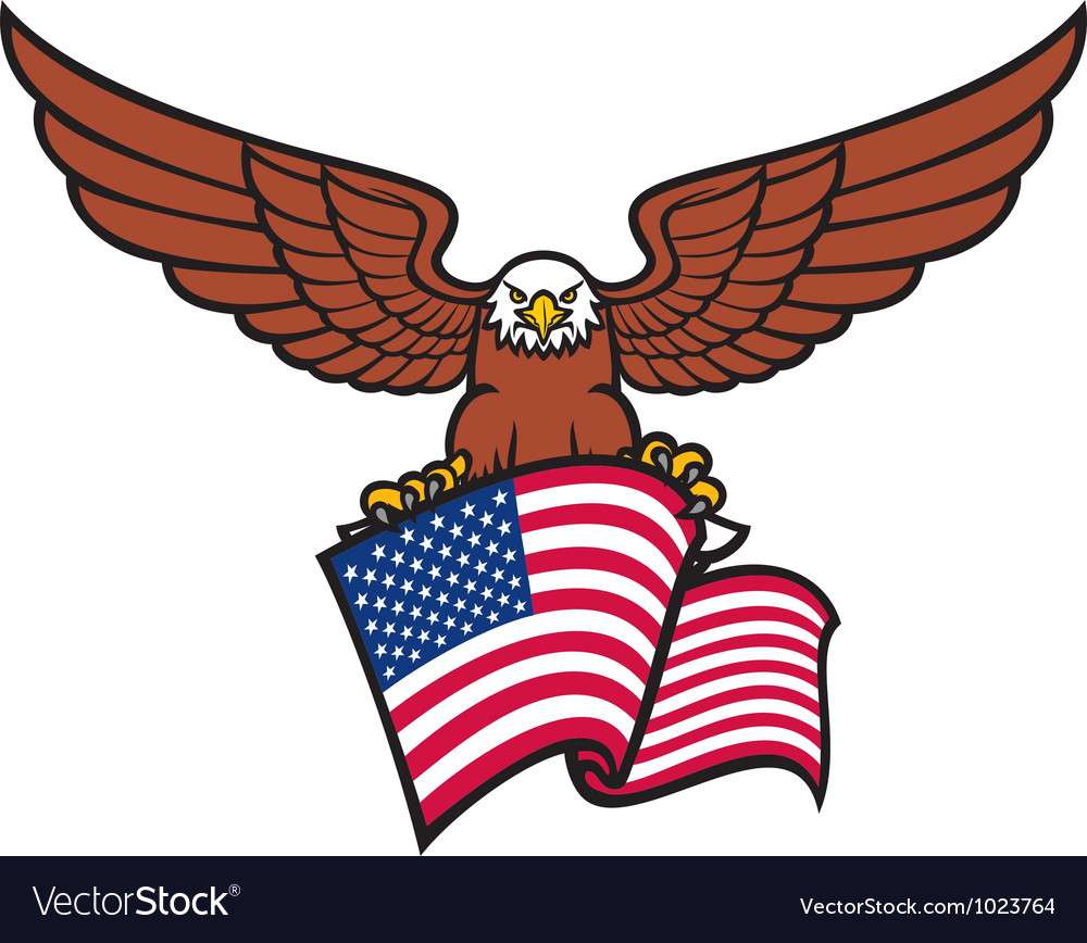 Eagle with usa flag vector | Price: 1 Credit (USD $1)