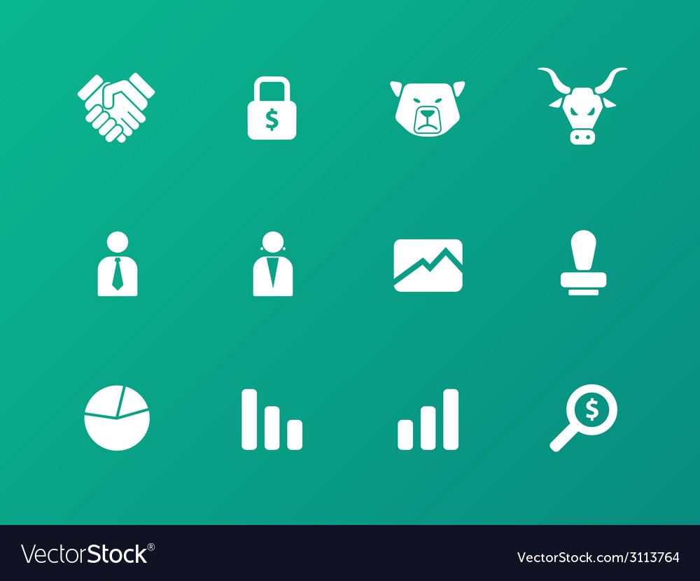 Finance icons on green background vector | Price: 1 Credit (USD $1)