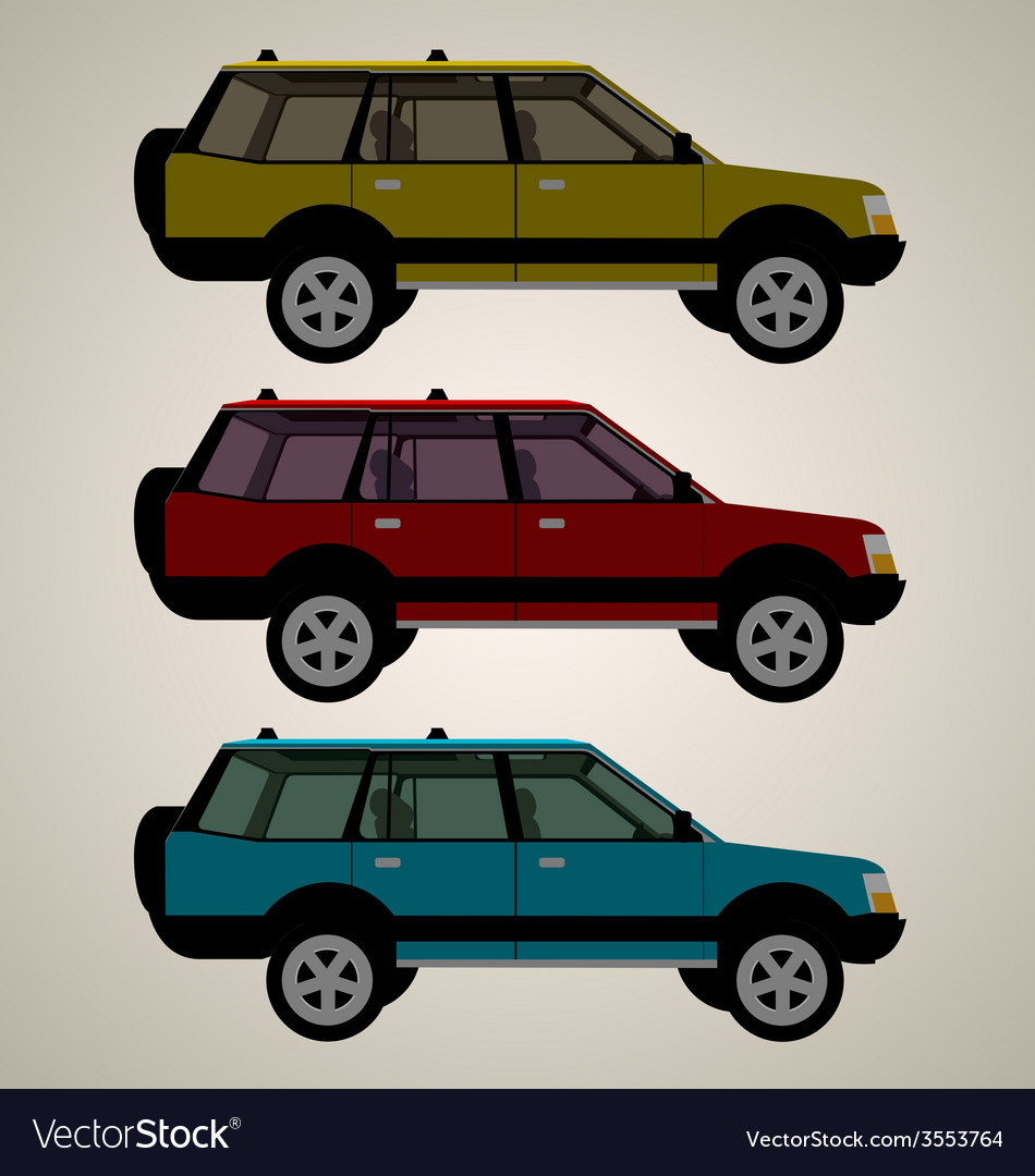 Flat 4x4 car 3 vector | Price: 1 Credit (USD $1)