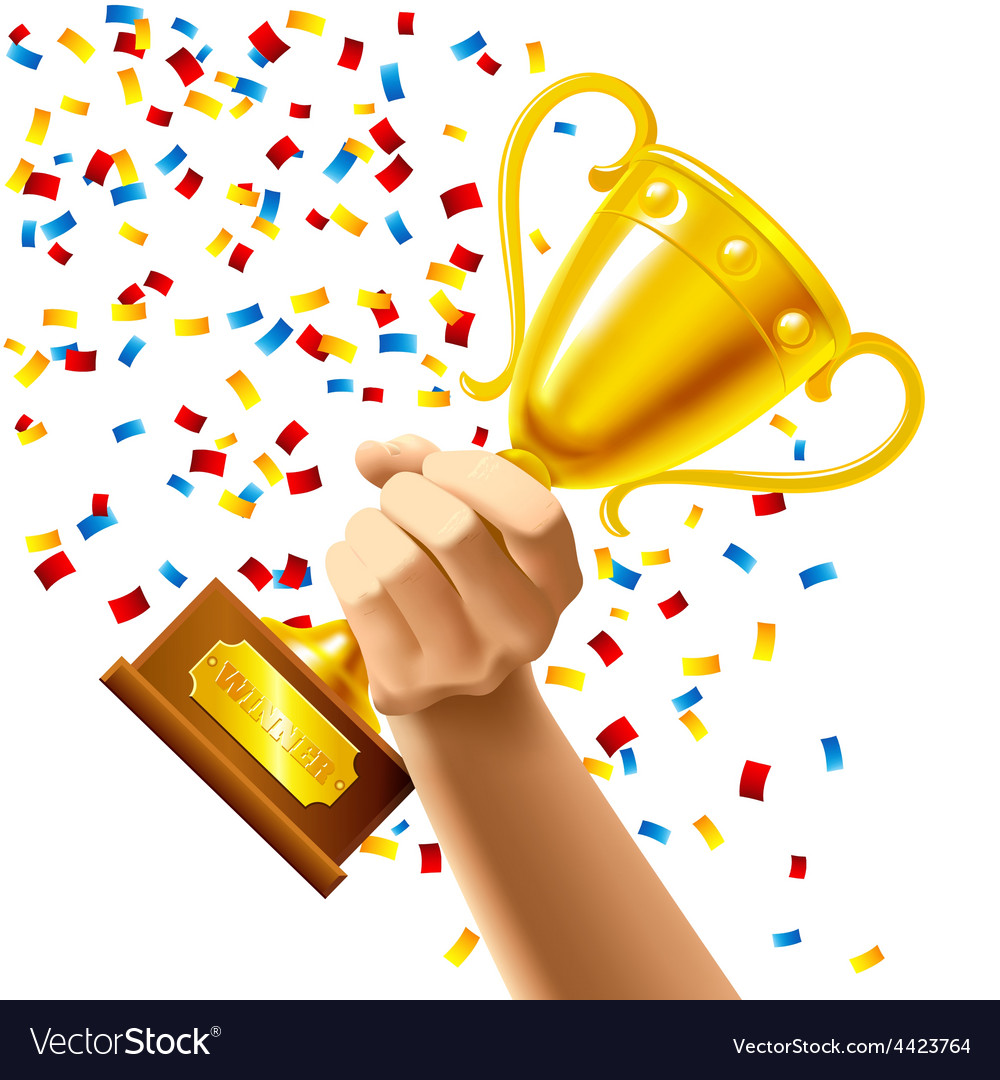 Hand holding a winner trophy cup award vector | Price: 1 Credit (USD $1)