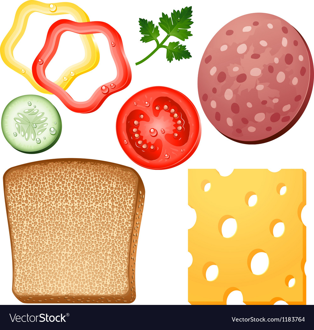 Ingredients for a sandwich vector | Price: 1 Credit (USD $1)