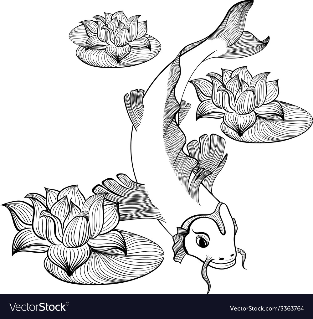 Koi fish with three flowers vector | Price: 1 Credit (USD $1)