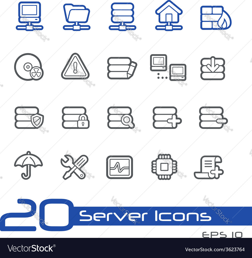 Network and server outline series vector | Price: 1 Credit (USD $1)