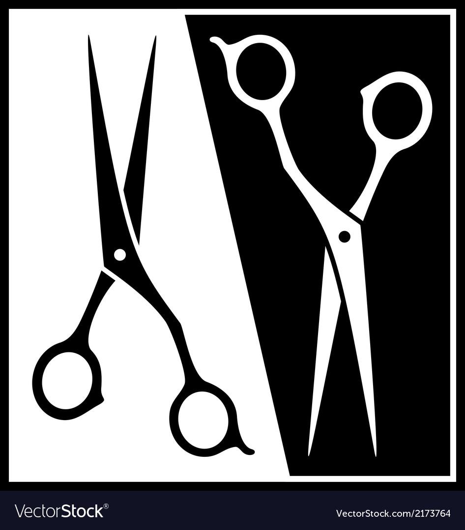 Set scissors black and white silhouette vector | Price: 1 Credit (USD $1)