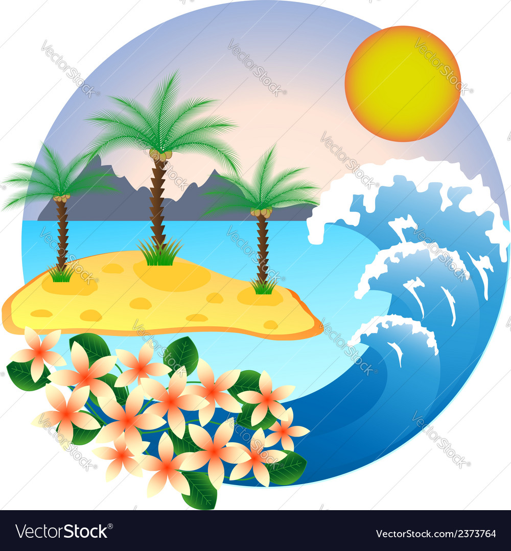 Two palm-tree on the tropical island vector | Price: 1 Credit (USD $1)