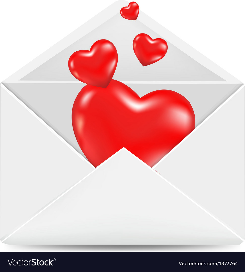 White envelope with red hearts vector | Price: 1 Credit (USD $1)