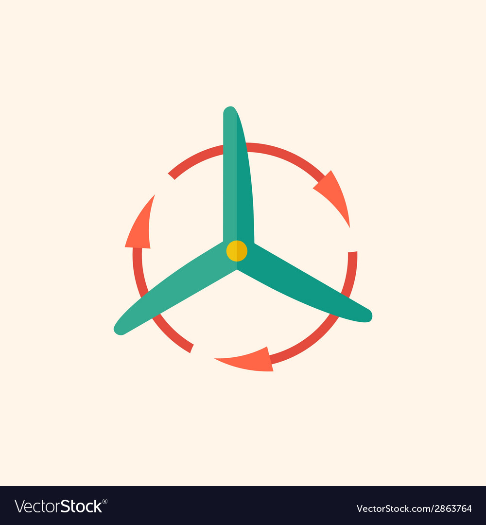 Wind energy flat icon vector | Price: 1 Credit (USD $1)