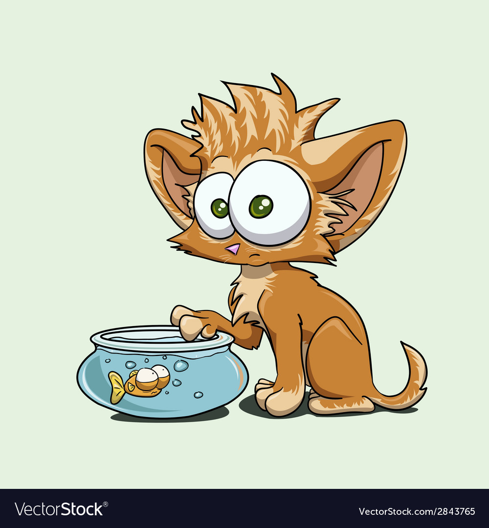 A kitten with a fish vector | Price: 1 Credit (USD $1)