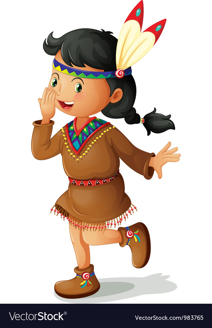 American indian girl vector | Price: 3 Credit (USD $3)
