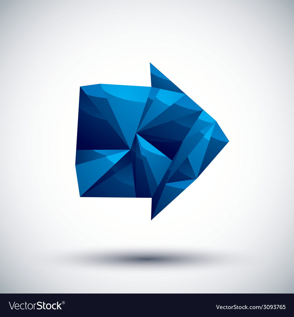 Blue arrow geometric icon made in 3d modern style vector | Price: 1 Credit (USD $1)