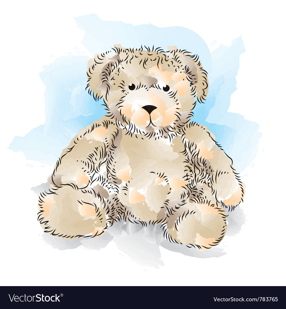 Drawing teddy bear color vector | Price: 3 Credit (USD $3)