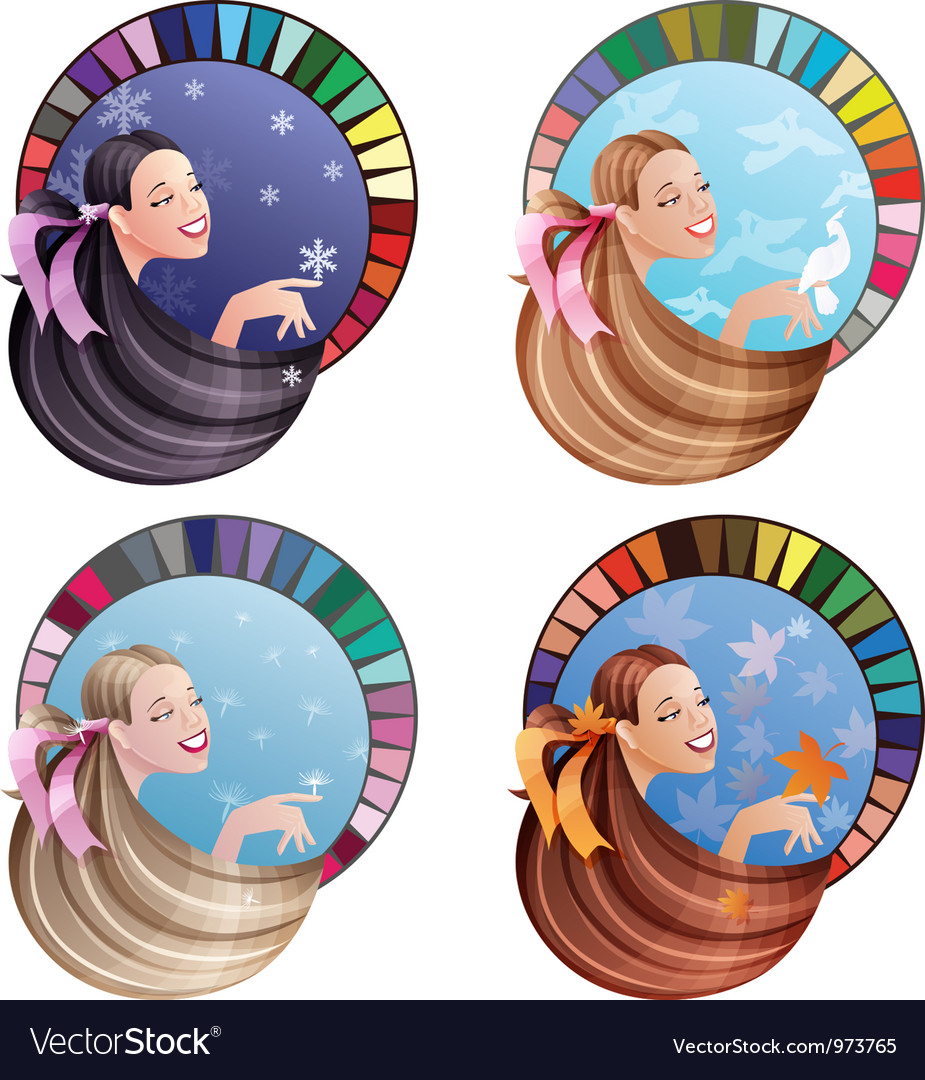 Four season type girl vector | Price: 3 Credit (USD $3)